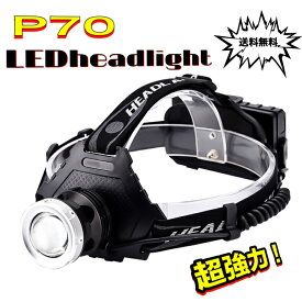 LEDヘッドライト 最強ルーメン 最高輝度 2020最新仕様 充電式 残量表示 伸縮ズーム 5段階の点灯モード USB輸出 登山 夜釣り アウトドア作業 SOS