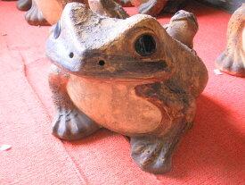 信楽焼き【中型】 金運アップ! カエルの置物大型陶器 庭先や玄関、水辺に。 蛙は金が帰ってくる 金運を呼び、運を呼ぶ力 財布に 運気・幸運・福招き・福寄せ 【在庫処分SALE】 【訳ありアウトレット】