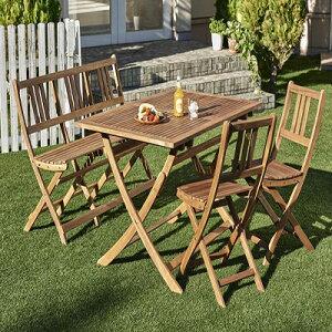 送料無料 アカシア天然木ガーデンファニチャー Efica エフィカ 4点セット(テーブル+チェア2脚+ベンチ1脚) ベンチ2Pタイプ W120 *500025840