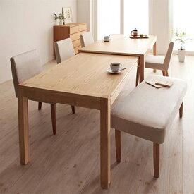 送料無料 ダイニングセット 6点セット(テーブル+チェア×4+ベンチ×1) スライド伸縮テーブル グライド 6人用 伸長式 伸縮 伸縮式 エクステンションテーブル 食卓テーブルセット 食卓セット キャスター付き 天然木 木製テーブル ワイド おしゃれ 北欧 かわいい 040600412