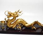 風水グッズ、願い龍、金龍、龍、置物、レインボー水晶玉(アイリスクォーツ)水杯セット1