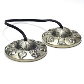 ティンシャ チベタンベル PRECIOUS SOUNDS 約76mm チベットシンバル 7メタル 密教法具 八吉祥 ヨガ 楽器 瞑想 スピリチュアル
