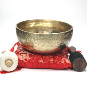 高音質 7メタル シンギングボウル 逸品SPECIAL SOUNDS 直径約23.7cm 重さ約1694gリン棒 マレット 台座付【 チベット密教法具 楽器 仏具 浄化 ヨガ 】