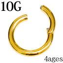 ボディピアス 10G ワンタッチセグメントリング / ステンレス カラーチタンコーティング ゴールド シンプル 軟骨ピアス セグメント 10ゲ…