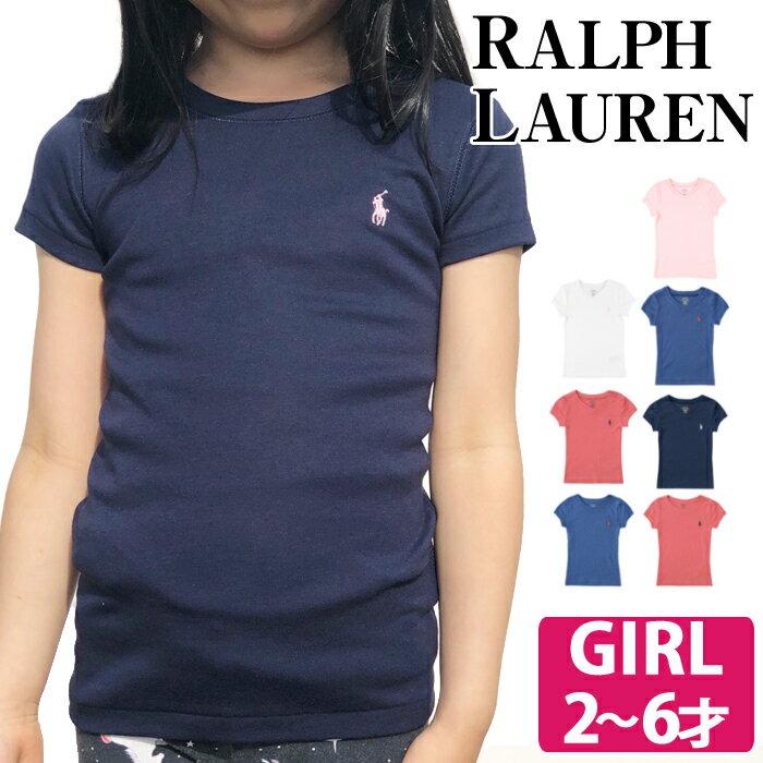 【クーポンで全品15%オフ】 ラルフローレン ガールズ Tシャツ キッズ Polo Ralph Lauren 女の子 ベビー 半袖 Ralph Lauren Vネック クルーネック