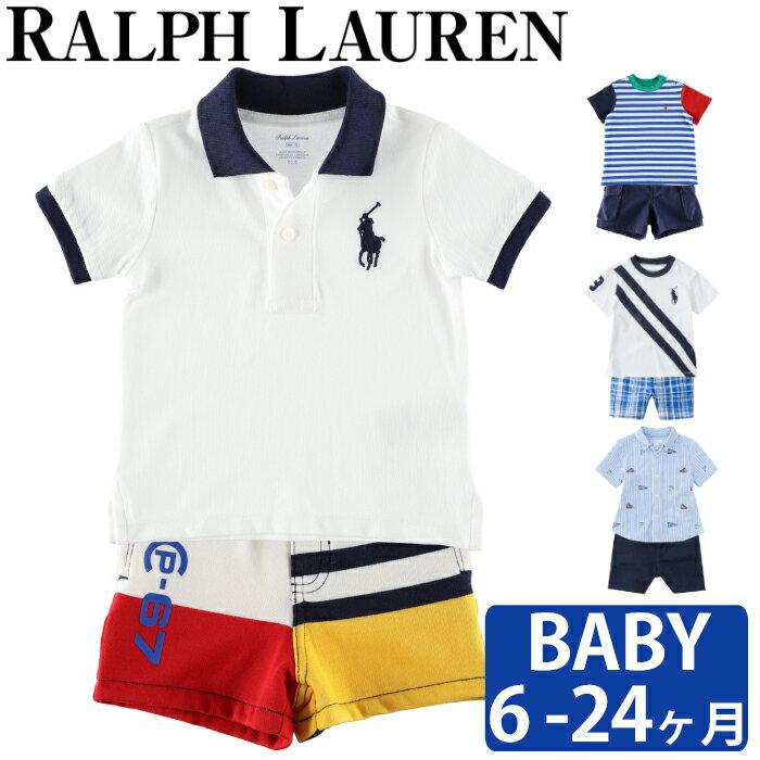 ポロ ラルフローレンのベビー用半袖 上品清楚なセットアップ春夏のお出かけ服に♪