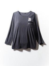 tシャツ 大きいサイズ レディース カジュアルトップス 3L 4L 5L 猫プリントポケット長袖Tシャツ ブラック・無地 大きいサイズの店 フォーエル