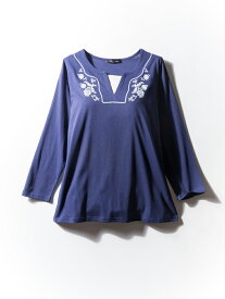 tシャツ 大きいサイズ レディース カジュアルトップス 3L 4L 5L 花柄刺繍レイヤード風長袖Tシャツ ネービー 大きいサイズの店 フォーエル