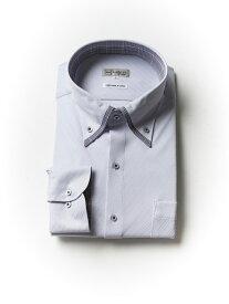 ワイシャツ 長袖 大きいサイズ メンズ 紳士服 3L 4L 5L 【完全ノーアイロン】アイシャツ ボタンダウン サックス・織柄無地 大きいサイズの店 フォーエル