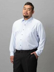大きいサイズ メンズ 3L 4L 5L 【完全ノーアイロン】アイシャツ ストライプ セミワイド サックス 大きいサイズの店 フォーエル クールビズ