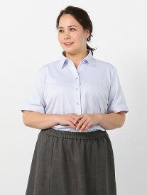 半袖ビジネスブラウス 大きいサイズ レディースブラウス i-shirt 半袖 小千鳥柄 スキッパー アイシャツ 2L 3L 4L 5L 6L 大きいサイズの店 フォーエル