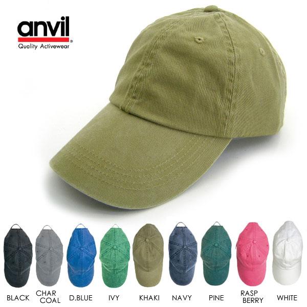 ローキャップ アンヴィル anvil アメリカ 帽子 コットンキャップ 6パネルキャップ メンズ レディース ユニセックス 紫外線対策 無地 uv対策 ホワイト 白 グリーン 緑 ブルー グレー メール便対応