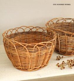 ラウンドバスケットS (アラログ)フルーツバスケット 500WORKS. ラタン THE AOROROG AROROGSTORAGE 果物 かご 籠 籐 おしゃれ 北欧 Creer/クレエ WPL