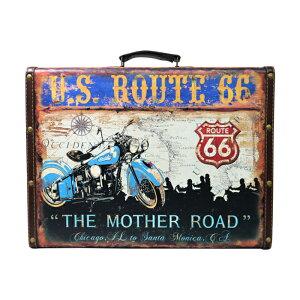 アメリカンレトロ調 トランクケース U.S. Route66 (大 ブルー)