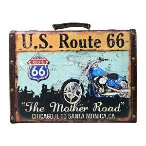 アメリカンレトロ調 トランクケース U.S. Route66 (小 ブルー)