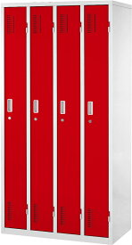 【関東送料無料】カラースチールロッカー 4人用 | ロッカー オフィスロッカー OAスチールロッカー カラーロッカー スチールロッカー おしゃれ スリム かぎ付き 鍵 付き 鍵付き (4人用) 幅90cm 更衣室 スチール 赤 アメリカ 1790 90cm 組み立て 式 組立