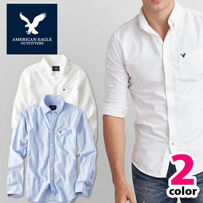 アメリカンイーグル メンズ カジュアル シャツAE SHIRT・メンズ長袖 ボタンシャツ白シャツ ブルー ae1700s