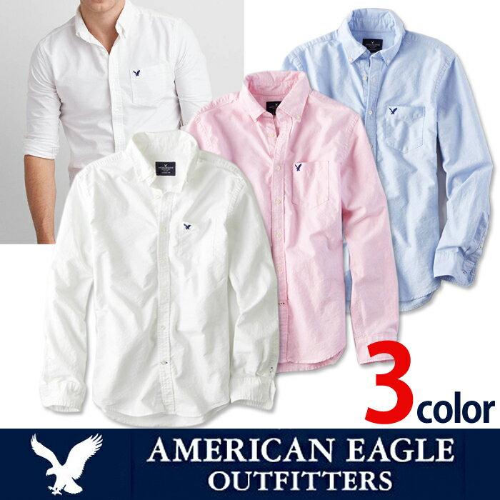 \エントリーするだけで【ポイント5倍】/4/21までアメリカンイーグル メンズ カジュアル シャツAE SHIRT・メンズ長袖 ボタンシャツ白シャツ ブルー ピンク ae1700s