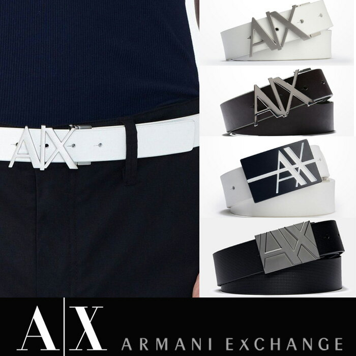 今ならスマホでエントリーするだけで、なんと■ポイント10倍■アメリカ正規入荷【ARMANI EXCHANGE】A/X アルマーニ・エクスチェンジMENS BELT/ レザーベルト 正規(ax415)白・ホワイト・黒・ブラック