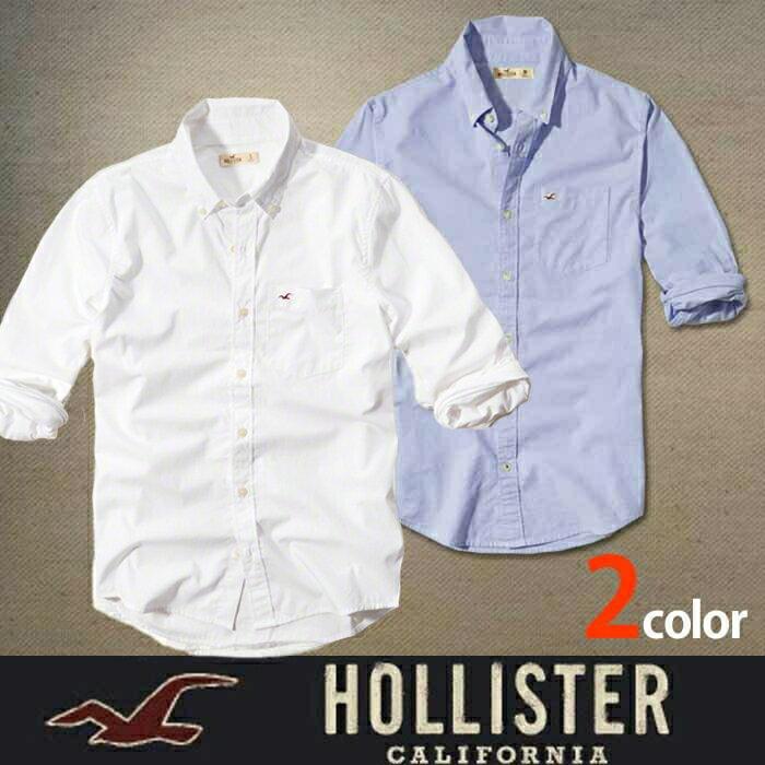 ホリスター メンズ 長袖 シャツ Hollister オックスフォード h222 ホワイト ブルー