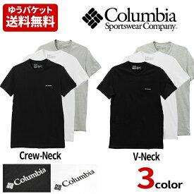 Columbia コロンビア ワンポイント Tシャツ メンズ 半袖 Vネック 丸首 Crew colu01 ゆうパケット送料無料
