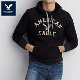 【AmericanEagle】アメリカンイーグルAEフードパーカーブラックメンズパーカー裏起毛暖かae888