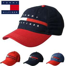 【TOMMY HILFIGER】トミーヒルフィガーベースボールキャップ 帽子 CAP HAT t511 ネイビー レッド