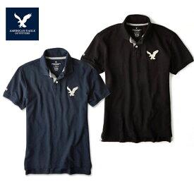 アメリカンイーグル ポロシャツ ビッグロゴ 半袖 メンズ AE American Eagle ae1705 ネイビー ブラック ウォッシング加工