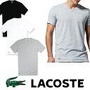 【LACOSTE】 ラコステ メンズ ワンポイント Vネック Tシャツ男性用 la18 ホワイト グレー ブラック 正規動きやすいストレッチ素材入り