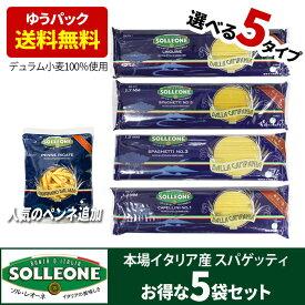 イタリア産 乾燥 パスタ5袋セット デュラム小麦100% 選べる5種 送料無料 sol03 ソルレオーネ 低GI 1.7mm 1.5mm カッペリーニ リングイーネ