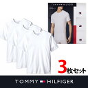トミー TシャツTOMMY HILFIGER トミーヒルフィガー 丸首 半袖 Tee3枚セット t465 ホワイト