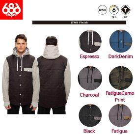 【686】シックスエイトシックス 2017-2018 Bedwin Insulated Jacket メンズ ジャケット フーディージャケット DWR スノーボード 6カラー S-XL