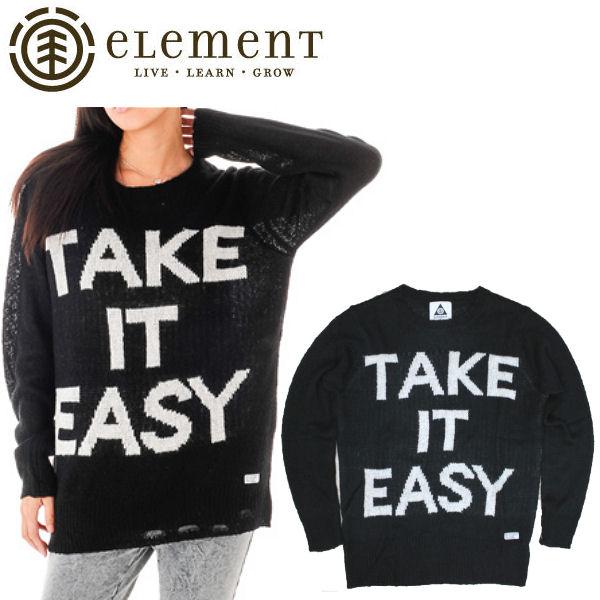 【ELEMENT】エレメント2013秋冬/SLACKER レディース長袖ニット セーター/S・M/ブラック/JAC VANEK 女性向け【あす楽対応】