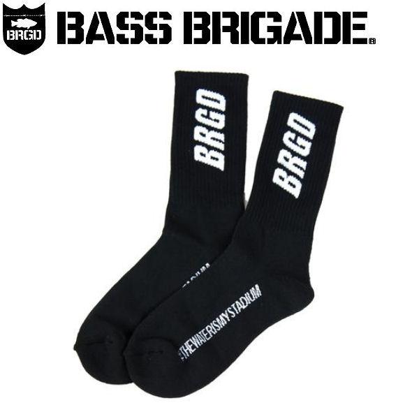 【BASS BRIGADE】バスブリゲード BRGD CREW SOCKS メンズソックス 靴下 アウトドア フィッシング BK【あす楽対応】