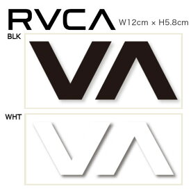 【RVCA】ルーカ THERMAL DIE CUT STICKER ブランドロゴ カッティングステッカー サーフィン スノーボード スケートボードに 12cm x 5.8cm ブラック ホワイト