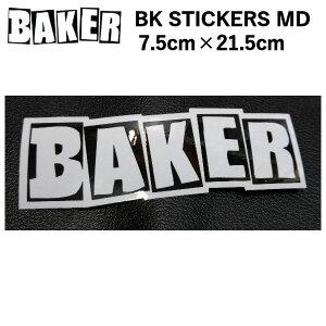 【BAKER】ベイカー BK STICKERS BRAND LOGO MD ブランドロゴ ホワイト 7.5cm×21.5cm【あす楽対応】
