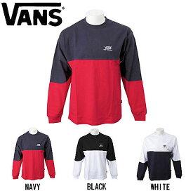 【VANS】バンズ 2019 秋冬 Color Block L/S T-Shirt 長袖 Tシャツ ロング ロンT メンズ レディース S〜XL 3カラー WHITE NAVY BLACK【あす楽対応】