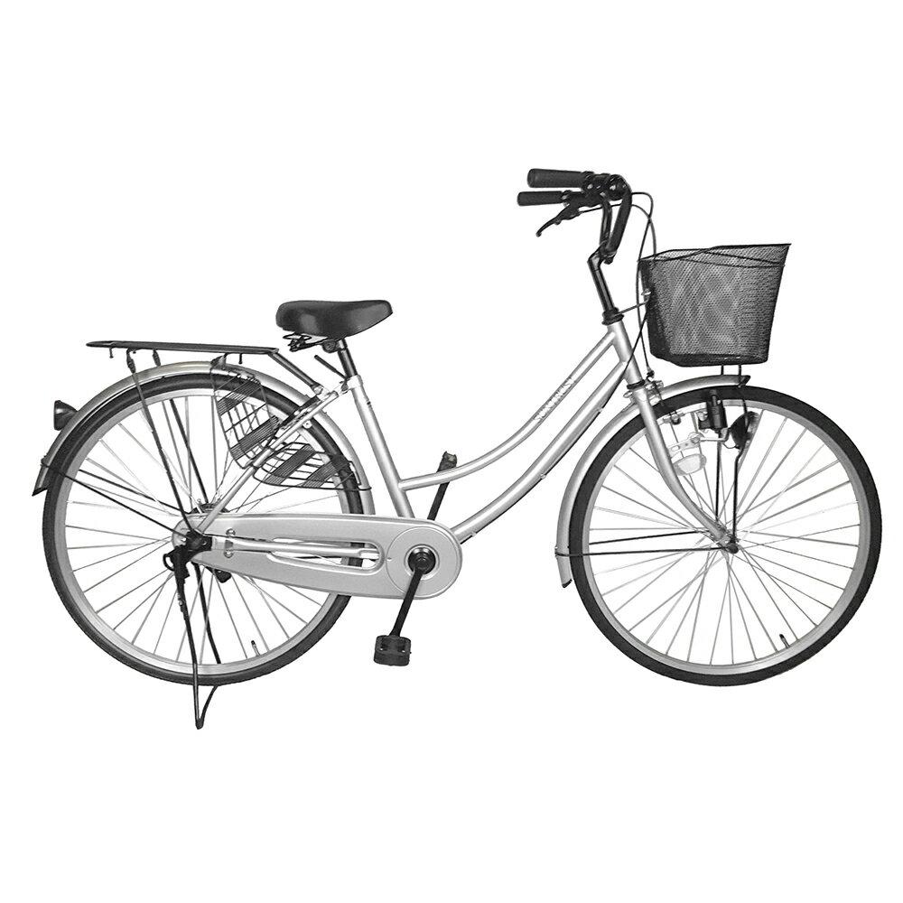 関東限定 送料無料 100%組立 自転車 シンプルフレームで大人気 ママチャリ サントラスト 軽快車 シルバー 自転車 SUNTRUST SUSO すそ ギアなし 自転車 26インチ鍵付き ママチャリ 通学用 激安 一万円以下 通販 おしゃれ