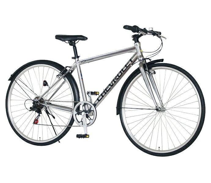 配送先一都三県限定 送料無料 クロスバイク シボレー 自転車 シルバー 700c 外装6段変速ギア CHEVROLET CHEVY シェビー 自転車 シボレー CHEVY METAL CRB7006 ギア付 激安 通販 おしゃれ