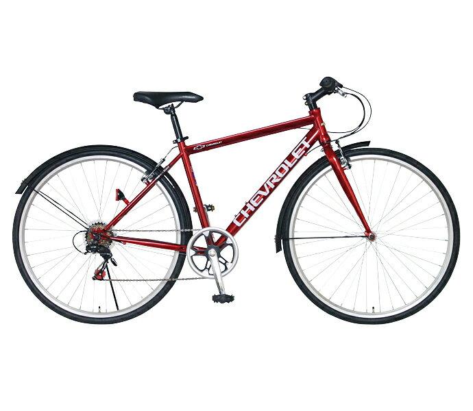 【配送先関東限定】【送料無料 クロスバイク シボレー 自転車】レッド 赤 700c 外装6段変速ギア CHEVROLET CHEVY シェビー 自転車 シボレー CHEVY METAL CRB7006 おしゃれ