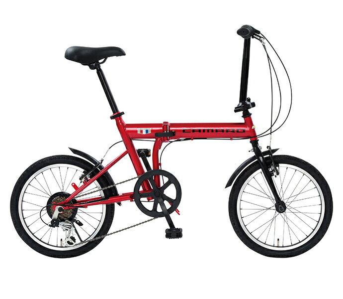 【スーパーセール 限定クーポン配布!】折りたたみ自転車 2019年モデル シボレー 18インチ 外装6段変速ギア CHEVROLET CAMARO FDB 186 軽量 自転車 おしゃれ レッド 赤 折り畳み自転車