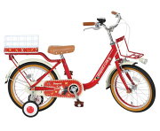 送料無料子供用自転車リサとガスパール16インチ赤レッド適応身長101cm〜119cm補助輪付きかご付き子供自転車幼児男の子
