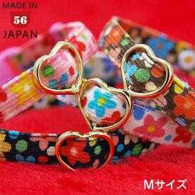 コーデュロイキュートな花柄猫首輪 Mサイズ 猫用首輪