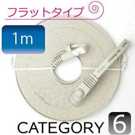 バーゲン メール便送料無料 フラットケーブル ストレート LANケーブル1m カテゴリ6e(cat6e)アイボリー マミコム M39M【RCP】