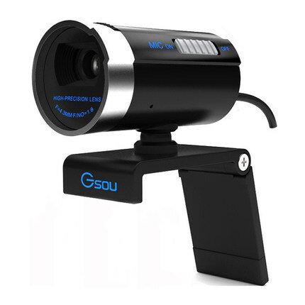 定形外等送料無料 高性能ウェブカメラ ブラック 1200万画素 CMOS採用 GSOU マイク内蔵型 ドライバインストール WEBカメラ skypeなどのビデオチャットに対応 接続するだけでカンタン! ウェブカメラ PCカメラ USBカメラ M39M【RCP】