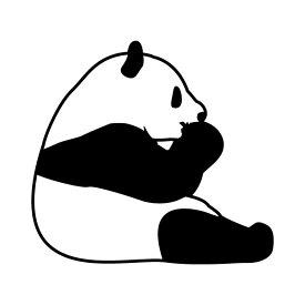 ステッカー 何かを食べてるパンダ 選べるサイズ・カラー パンダ/熊猫/カンカン/ランラン/結浜/ユイヒン 車のドレスアップに M39M[メール便送料無料]