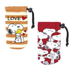 スヌーピー ステッキつえぶくろ 折りたたみ杖用袋 ブラウン/レッド/ 持ち運びに便利 ストライプ柄/キャラクター/犬