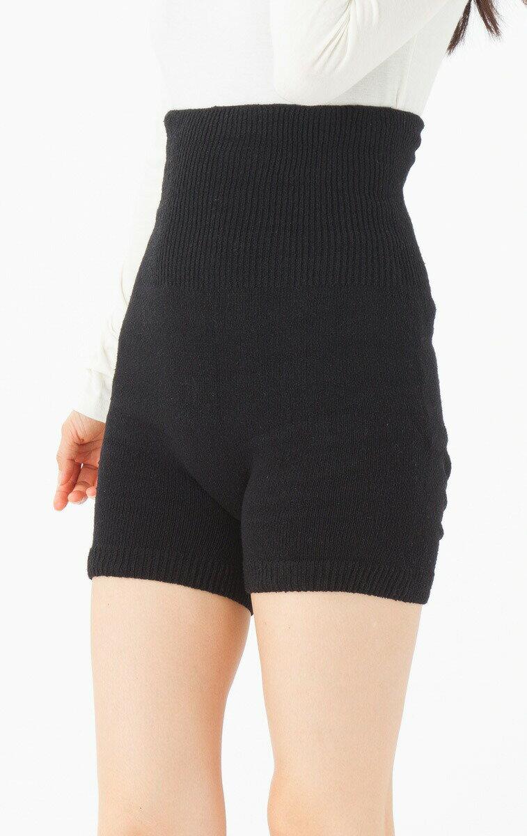 9503 無縫製 3次元 シルク はらまきパンツ 黒(3分丈) (婦人フリー) お尻立体 五本指 腹巻 日本製