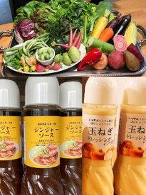 新鮮な京都のお野菜 おまかせ詰め合せ(Sサイズ)と玉ねぎドレッシング(レギュラーサイズ) ・ジンジャーソース(レギュラーサイズ)のセット