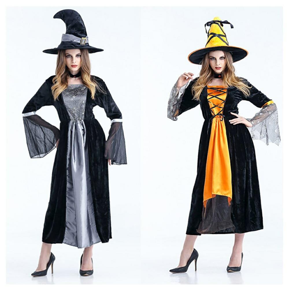 魔女 ウィッチ 童話 コスチューム ハロウィン コスプレ 衣装 テーマパーティー 仮装 レディース 女性用 S M L 大きいサイズ 帽子 魔法使い ドレス cosplay ダンス衣装 巫女 悪魔